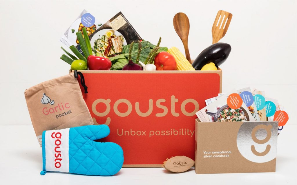 Gousto meal kit with some other cooking items.